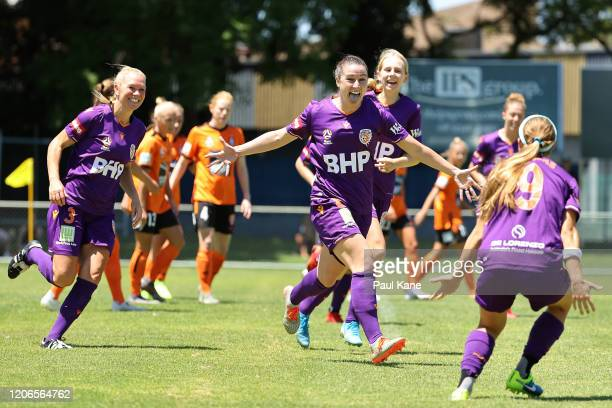 Morgan Andrews of the Perth Glory celebrates a goal during the round 12 W-League match between Perth Glory and Brisbane Roar FC at Dorrien Gardens on...