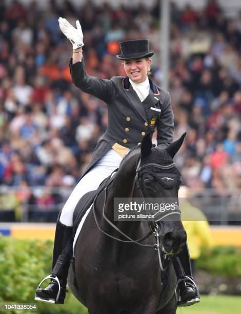 Morgan Barbancon Mestre of Spain gestures on her horse Painted Black in the Grand Prix Freestyle Dressage Individual Final during the FEI European...