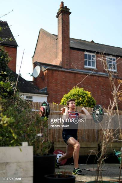 Morgan Bolding of Great Britain does a weights session in his garden on March 27 2020 in HenleyonThames England The coronavirus and the disease it...