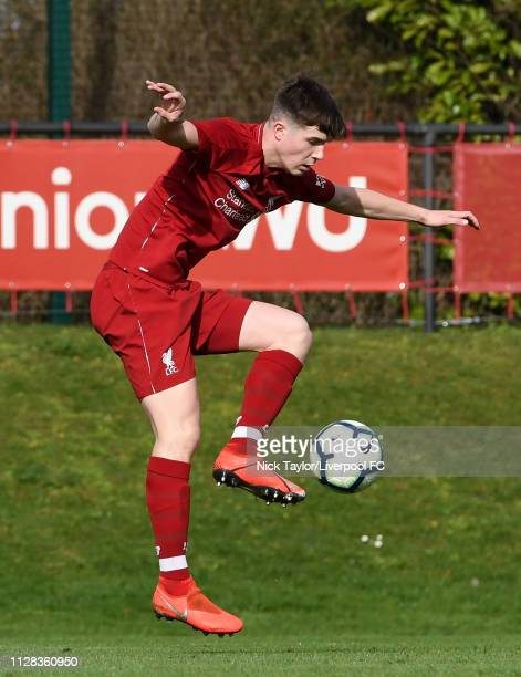 Morgan Boyes of Liverpool in action during the U18 Premier League game at The Kirkby Academy on March 2 2019 in Kirkby England