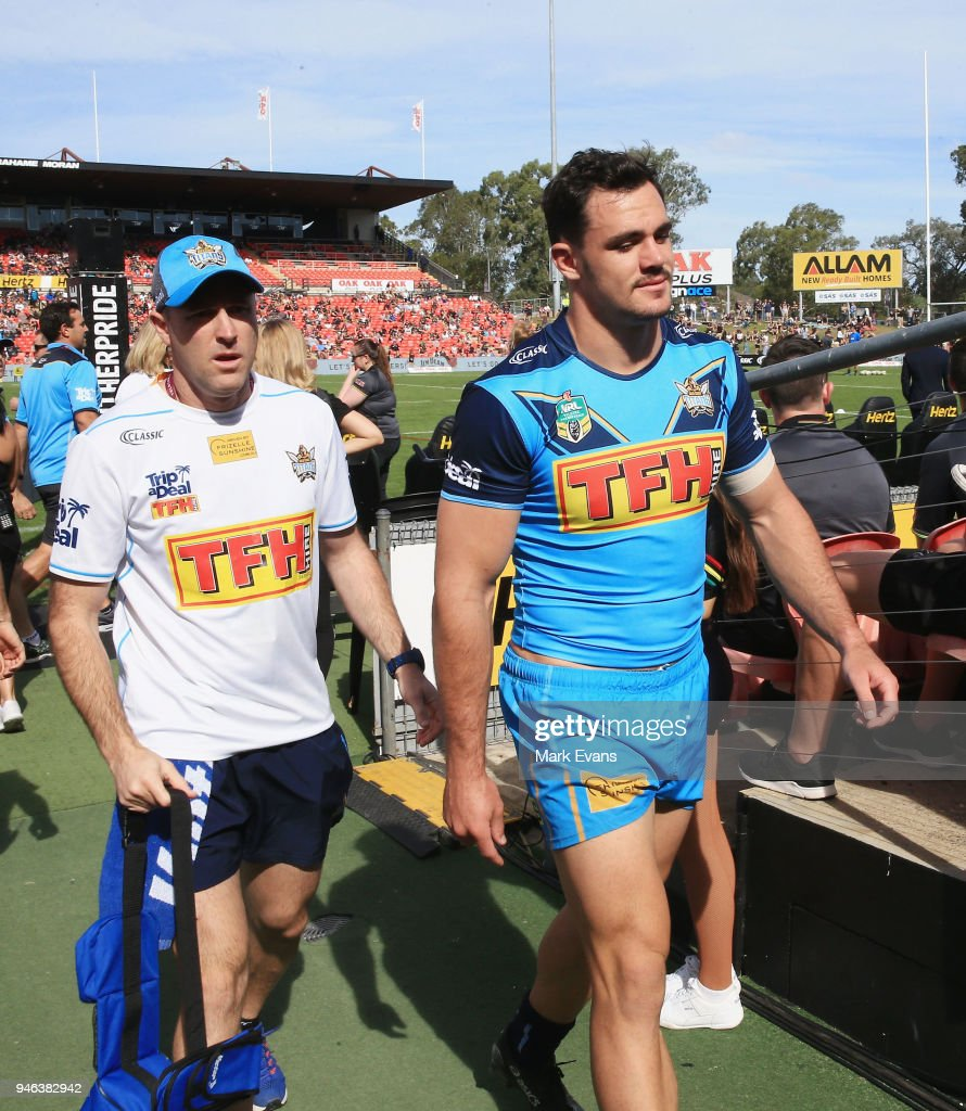 Morgan Boyle of the Titans walks off after he was knocked out in the warm up before the round six NRL match between the Penrith Panthers and the Gold Coast Titans on April 15, 2018 in Penrith, Australia.