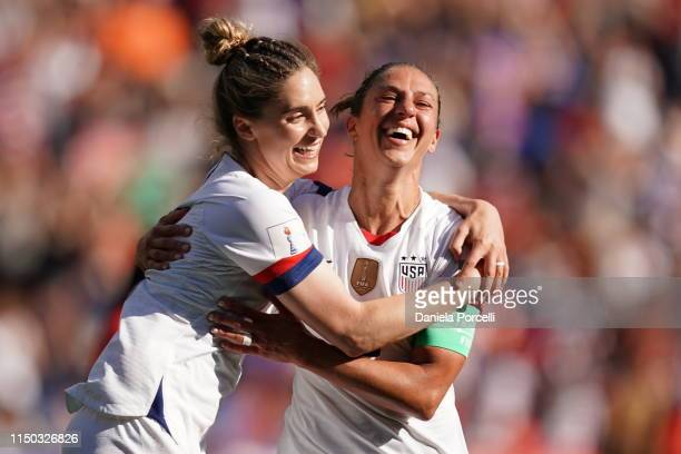 Morgan Brian and Carli Lloyd of the USA celebrate Carli's goal during the 2019 FIFA Women's World Cup France group F match between USA and Chile at...