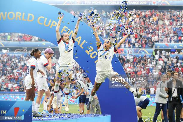 Morgan Brian and Mallory Pugh of USA celebrate after winning the 2019 FIFA Women's World Cup France Final match between The United State of America...