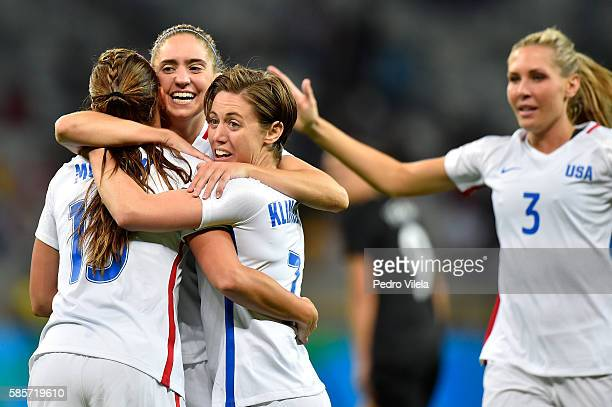 Morgan Brian Meghan Klingenberg Allie Long and Alex Morgan of United States celebrate after Alex Morgan scores in the Women's Group G first round...