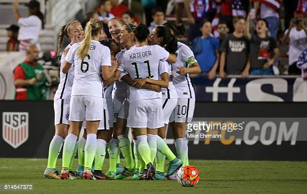 Morgan Brian of the United States celebrates a goal during a match against Germany in the 2016 SheBelieves Cup at FAU Stadium on March 9 2016 in Boca...