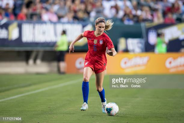 Morgan Brian of United States of the U.S. Women's 2019 FIFA World Cup Championship team drives the ball across the pitch during the 1st half of the...