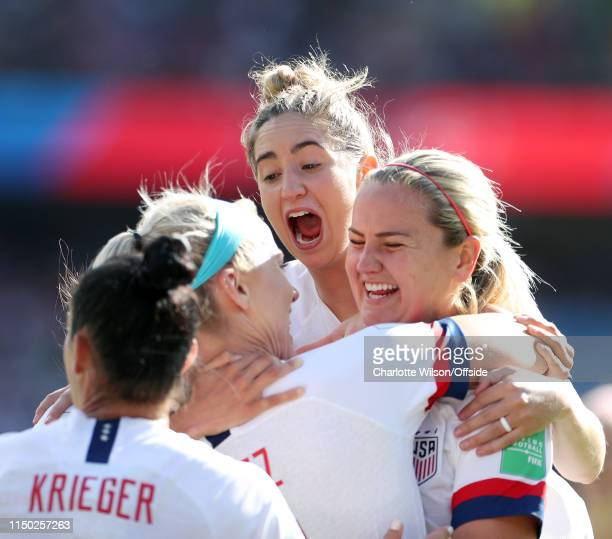 Morgan Brian of USA celebrates their 2nd goal with Lindsey Horan and goalscorer Julie Ertz during the 2019 FIFA Women's World Cup France group F...