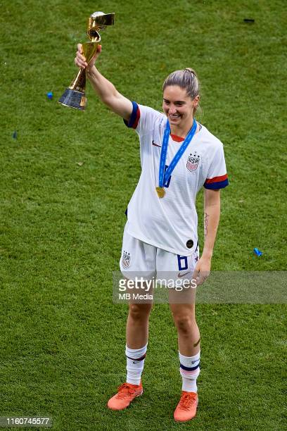 Morgan Brian of USA poses with the FIFA World Cup trophy during the 2019 FIFA Women's World Cup France Final match between The United States of...