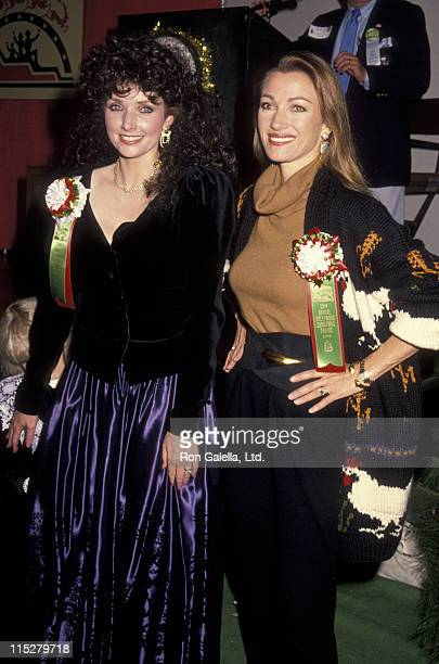Morgan Brittany and actress Jane Seymour attend 52nd Annual Hollywood Christmas Parade on November 25 1990 in Hollywood California