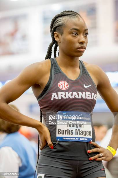 Morgan Burks Magee of the University of Arkansas prior to the start of the Women's 400 Meter Dash during the Division I Men's and Women's Indoor...
