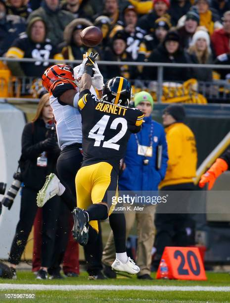 Morgan Burnett of the Pittsburgh Steelers breaks up a pass intended for Cody Core of the Cincinnati Bengals in the first quarter during the game at...