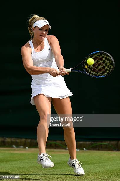 Morgan Coppoc of The United States plays a backhand during the Girl's singles first round match against Gabriella Taylor of Great Britain on Middle...