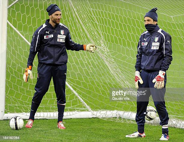 Morgan De Sanctis and Gianluigi Buffon of Italy attend a training session ahead of their FIFA World Cup Brazil 2014 qualifier against Danimarca at...