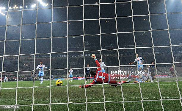 Morgan De Sanctis goalkeeper of SSC Napoli fails to save as Fredy Guarin scores during the Serie A match between FC Internazionale Milano and SSC...