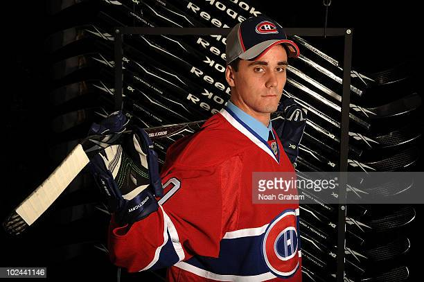 Morgan Ellis drafted in the fourth round by the Montreal Canadiens poses for a portrait during the 2010 NHL Entry Draft at Staples Center on June 26...