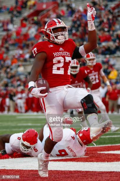 Morgan Ellison of the Indiana Hoosiers celebrates after scoring a touchdown against the Rutgers Scarlet Knights at Memorial Stadium on November 18...