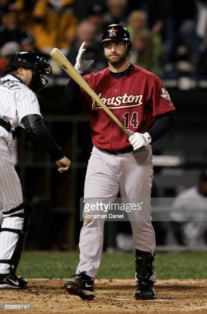 Morgan Ensberg of the Houston Astros reacts after striking out to end the third inning of Game Two of the 2005 Major League Baseball World Series...