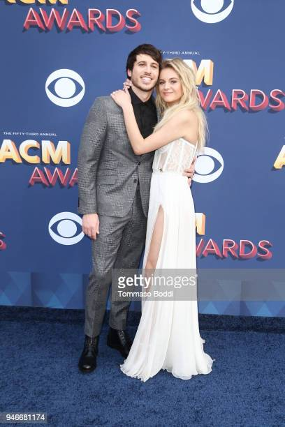 Morgan Evans and Kelsea Ballerini attend the 53rd Academy of Country Music Awards at MGM Grand Garden Arena on April 15 2018 in Las Vegas Nevada