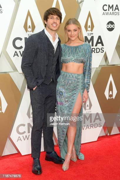Morgan Evans and Kelsea Ballerini attend the 53rd annual CMA Awards at the Music City Center on November 13 2019 in Nashville Tennessee