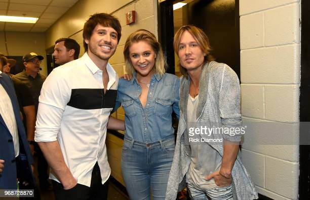 Morgan Evans Kelsea Ballerini and Keith Urban attend the 2018 CMT Music Awards Backstage Audience at Bridgestone Arena on June 6 2018 in Nashville...