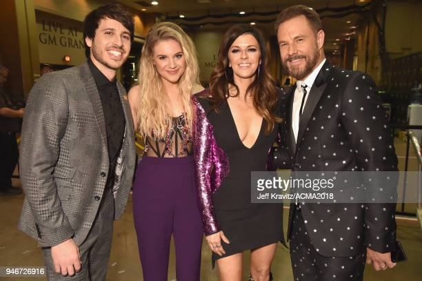 Morgan Evans Kelsea Ballerini Karen Fairchild and Jimi Westbrook attend the 53rd Academy of Country Music Awards at MGM Grand Garden Arena on April...