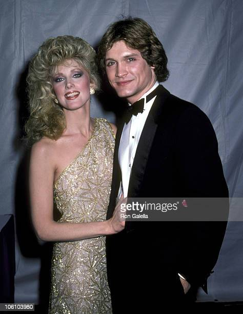 Morgan Fairchild and Andrew Stevens during 1982 American Movie Awards at Hollywood Palladium in Hollywood California United States