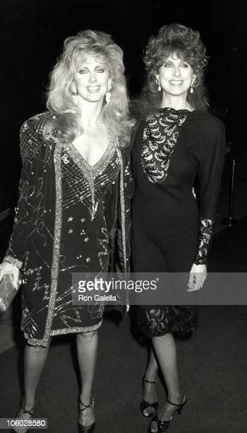 Morgan Fairchild and Catherine Hart during Barbara Mandrell Concert Performance February 28 1986 at Sheraton Premiere Hotel in Los Angeles California...