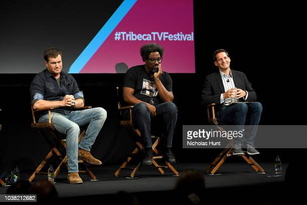Morgan Fallon and W Kamau Bell speak onstage at the 'Anthony Bourdain Parts Unknown' Season 12 Premiere panel during the 2018 Tribeca TV Festival at...