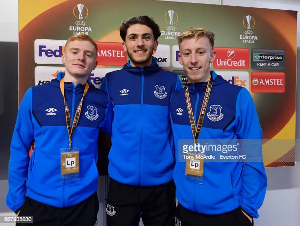 Morgan Feeney Fraser Hornby and Harry Charsley of Everton pose for a photo after the UEFA Europa League Group E match between Apollon Limassol and...
