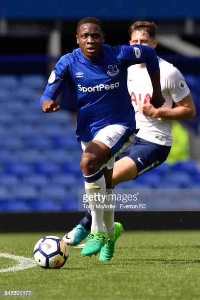 Morgan Feeney of Everton during the Premier League 2 match between Everton U23 and Tottenham Hotspur U23 at Goodison Park on September 10 2017 in...