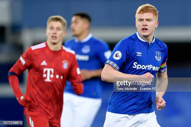 Morgan Feeney of Everton during the Premier League International Cup match between Everton U23 and Bayern Munich II at Goodison Park on December 12...