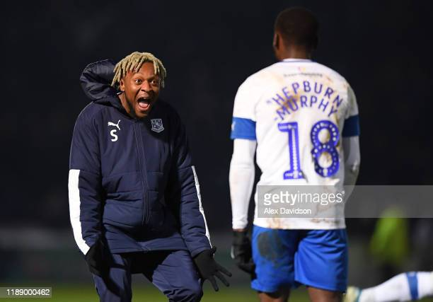 Morgan Ferrier and Rushian Hepburn-Murphy of Tranmere Rovers celebrate victory during the FA Cup First Round Replay between Wycombe Wanderers and...