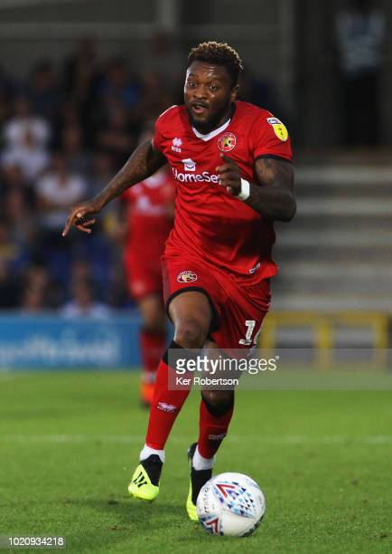 Morgan Ferrier of Walsall during the Sky Bet League One match between AFC Wimbledon and Walsall at The Cherry Red Records Stadium on August 21 2018...