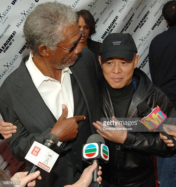 "Morgan Freeman and Jet Li during ""Unleashed"" New York City Premiere - Arrivals at Loews 19th Street in New York City, New York, United States."