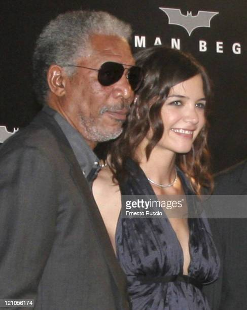 "Morgan Freeman and Katie Holmes during ""Batman Begins"" Rome Premiere - Arrivals at Warner Village in Rome, Italia RM, Italy."