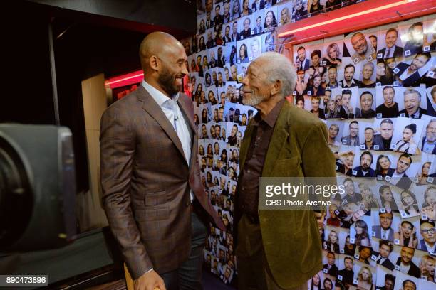 Morgan Freeman and Kobe Bryant chat backstage during 'The Late Late Show with James Corden' Wednesday December 6 2017 On The CBS Television Network
