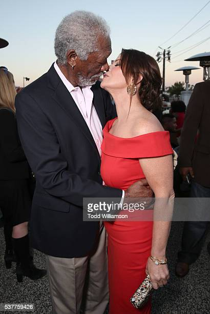 Morgan Freeman and Marcia Gay Harden attend the 4th Annual CBS Television Studios Summer Soiree at Palihouse on June 2 2016 in West Hollywood...