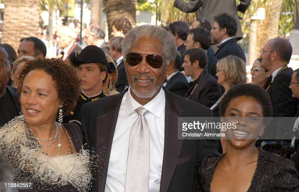 """Morgan Freeman and Myrna Colley-Lee during 2005 Cannes Film Festival - """"The Three Burials of Melquiades Estrada"""" Premiere in Cannes, France."""