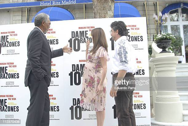 Morgan Freeman and Paz Vega during 10 Items Or Less Madrid Photocall at Ritz Hotel in Madrid Spain