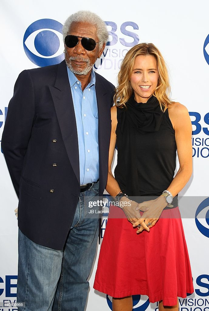 Morgan Freeman and Tea Leoni arrive at the CBS Summer Soiree at The London West Hollywood on May 19, 2014 in West Hollywood, California.