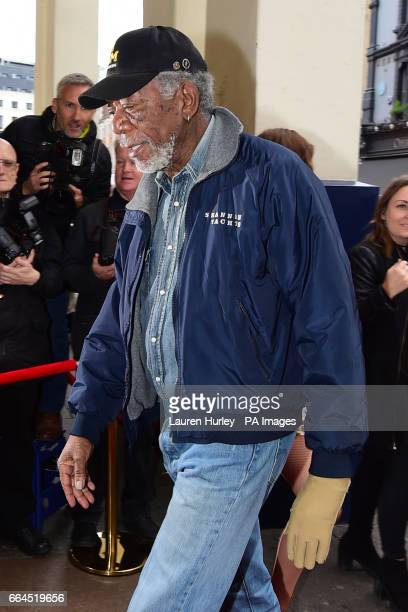 Morgan Freeman arrives for the opening night of the musical 42nd Street in aid of East Anglia's Children's Hospice at the Theatre Royal Drury Lane...