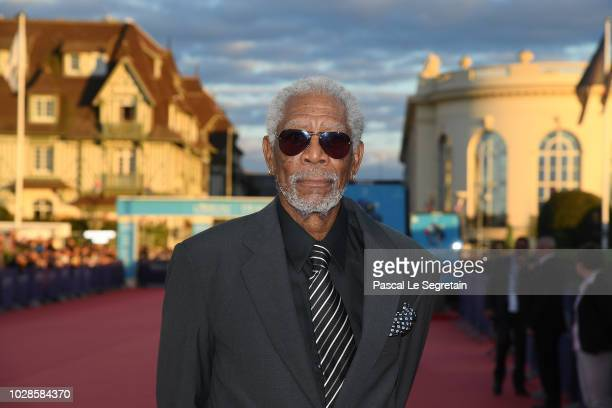 Morgan Freeman arrives to attend the award ceremony for his lifetime achievment at the 44th Deauville American Film Festival on September 7, 2018 in...