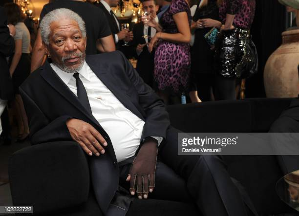 Morgan Freeman attends the Dolce Gabbana VIP Room prior to the Dolce Gabbana Milan Menswear Spring/Summer 2011 show on June 19 2010 in Milan Italy