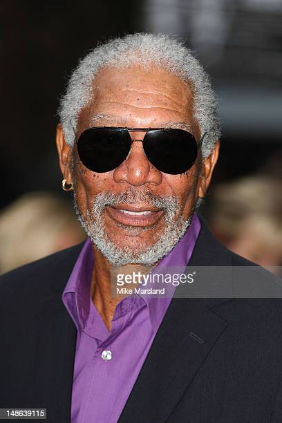 Morgan Freeman attends the European premiere of 'The Dark Knight Rises' at Odeon Leicester Square on July 18 2012 in London England