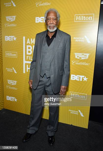 Morgan Freeman backstage during the American Black Film Festival Honors Awards Ceremony at The Beverly Hilton Hotel on February 23, 2020 in Beverly...