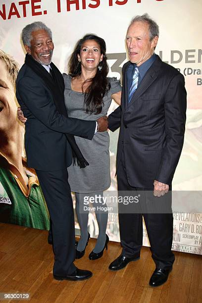 Morgan Freeman Dina Ruiz and Clint Eastwood attend the UK premiere of Invictus held the at The Odeon West End on January 31 2010 in London England