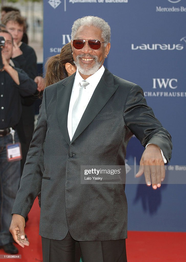 Morgan Freeman during 2006 Laureus World Sports Awards - Red Carpet Arrivals in Barcelona, Spain.
