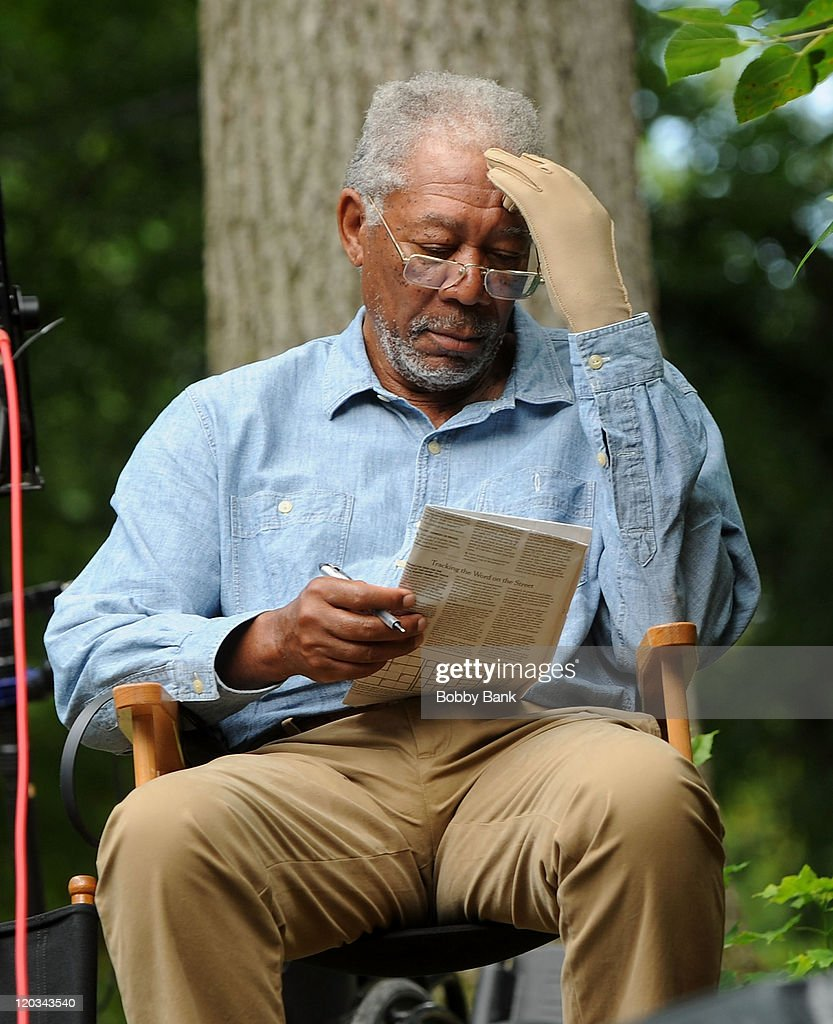 Morgan Freeman filming on location for 'Summer at Dog Dave's' on August 4, 2011 in Greenwood Lake, New York.