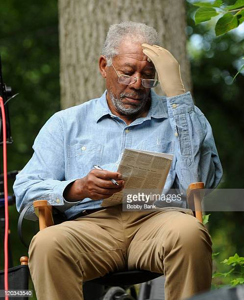 Morgan Freeman filming on location for 'Summer at Dog Dave's' on August 4 2011 in Greenwood Lake New York