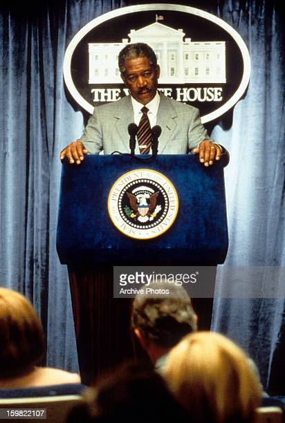 Morgan Freeman giving a speech at The White House in a scene from the film 'Deep Impact' 1998